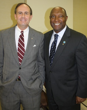 State Delegate Lynwood Lewis and County Supervisor Willie Randall (Wave photo)