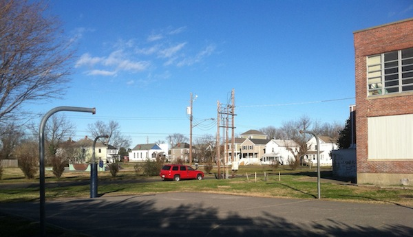 Plenty of space to dribble, but nowhere to shoot: The Town of Cape Charles removed the hoops and backboards Thursday from what had been the town's only basketball  court. (Wave photo)