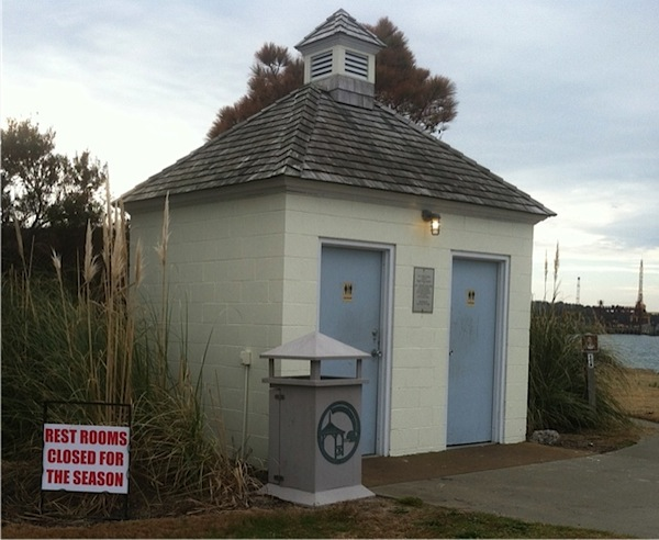 Town's public toilet at the fishing pier, built by volunteers, is closed for the season.
