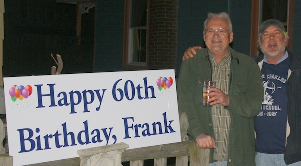 """Freshwater Frank"" Russell, Cape Charles' beloved musician, at his surprise birthday party, with Frank Wendell. (Wave photos)"