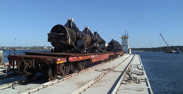 Gun barrel on its way to Cape Charles last year. (USFWS photo)