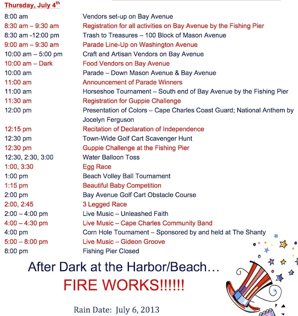 2013 July 4 schedule of events