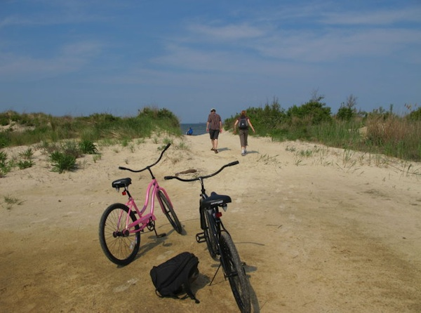 The Sunday, June 30, RIchmond Times-Dispatch travel section featured a story on Cape Charles, including a bike ride from King's Creek Marina to the beach above at Bay Creek. (Photo by Katherine Calos, Times-Dispatch)