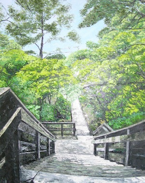 """Stairway to Bay"" oil by Duong"