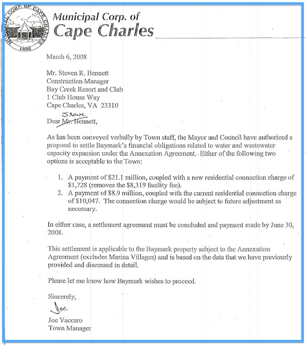 Letter from Town Manager to Bay Creek