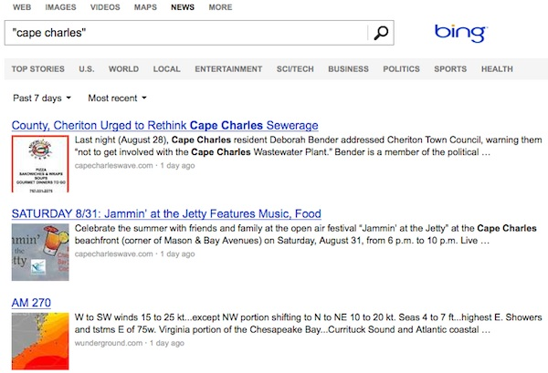 "Bing News search engine top hits for ""Cape Charles"" are from the Wave."