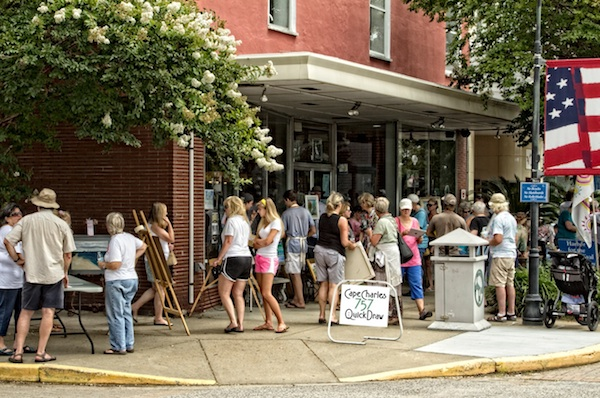 Crowds outside Stage Door Gallery during the 757 Quick Draw competition