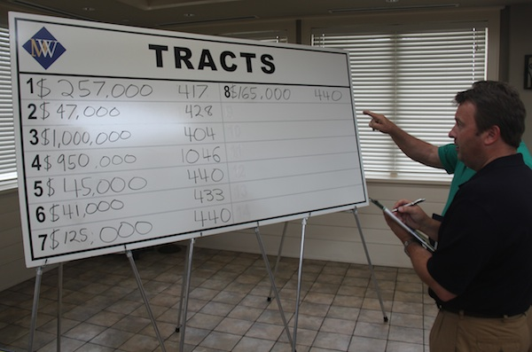 Tracts chart with high bid and bid card number for the seven properties auctioned Monday. (Wave photo)