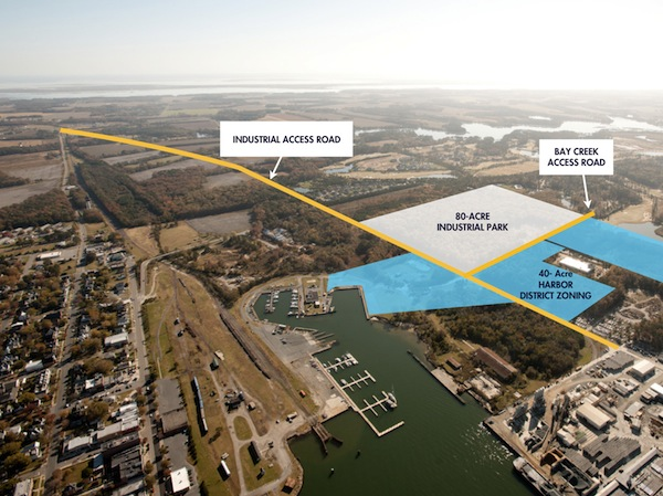 Development plans for Cape Charles include an industrial access road running from Stone Road to Bayshore Concrete.