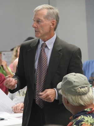 PSA Chairman Bob Panek, who also is assistant town manager for Cape Charles, spoke to a crowd of 100 at Monday night's meeting. (Wave photo)