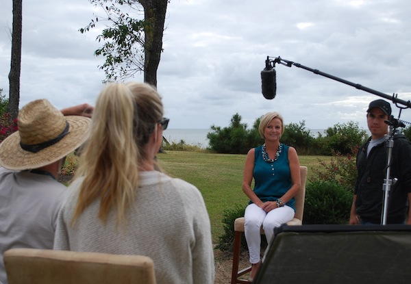 Filming Blue Heron Agent Eva Noonan During The Agent Interview Segment For The New Bargain Beach Home Series Premiering ON HGTV In January, 2014