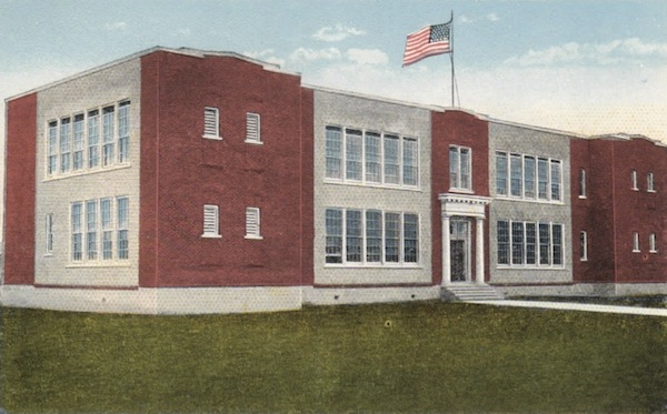 Penny postcard of historic old school -- where is the front of the building?