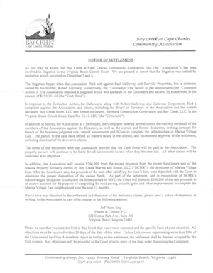 Click above to read the Notice of Settlement sent to Bay Creek property owners.