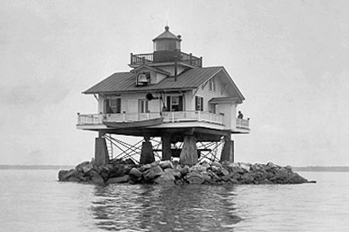 Original lighthouse on Old Plantation Flats was torn down in 1964. (Coast Guard photo)