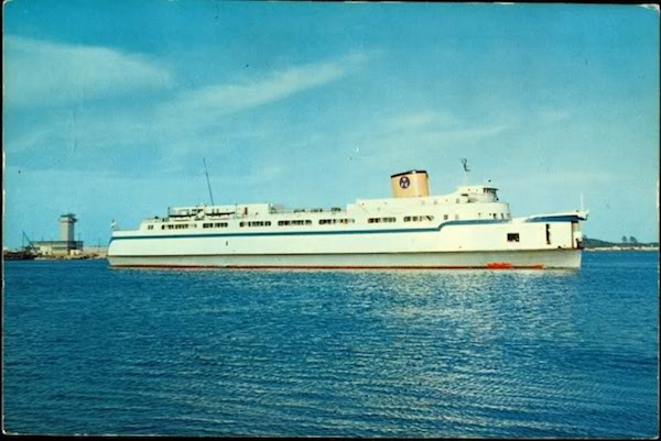 1950s post card of the Princess Anne ferryboat departing Norfolk for Cape Charles. This was the first ferry that Capt.