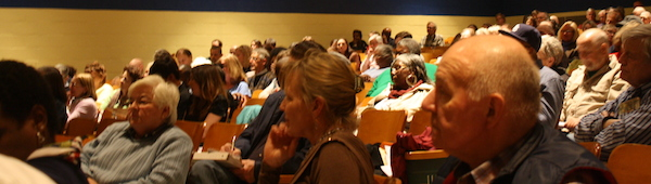 Portion of March 11 crowd at Northampton High auditorium (Wave photo)
