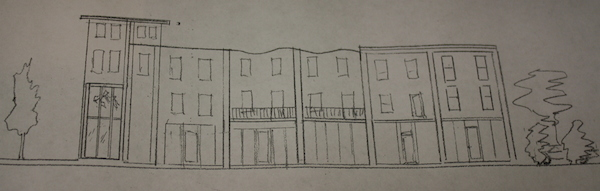 Developer Patrick Hand supplied this sketch of one of the buildings he proposes to construct on the site of the old Be-Lo grocery.