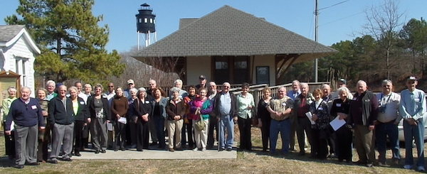 Ferry reunion attendees assemble at Cape Charles Welcome Center.