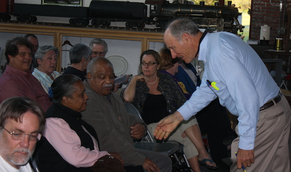 County Supervisor Granville Hogg meets with constituents at Cape Charles Museum. (Wave photo)