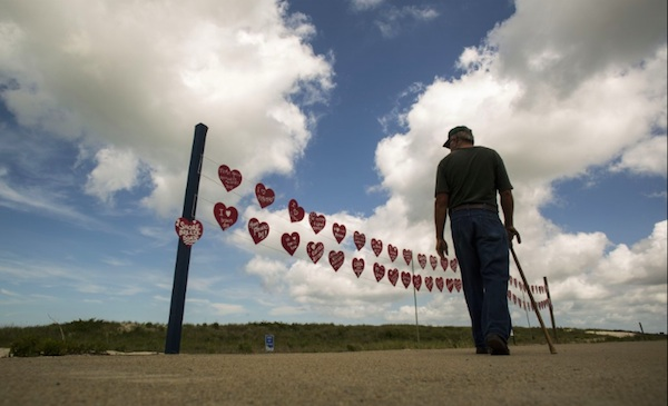 The LOVE display at Cape Charles beach was the only in-town photo included in the Post's online slideshow. (Photo by Jay Westcott/Washington Post)