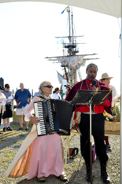 Strolling entertainers Carol & Malcolm serenade at last year's Tall Ships Cape Charles Festival 