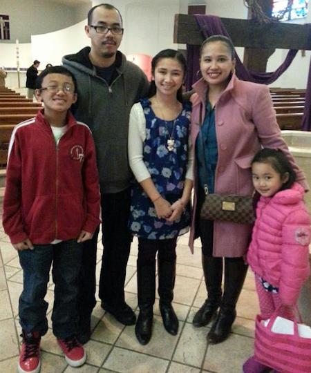Lord Balatbat and Lolibeth Ortega shown with their three children: Lheandrew, 13, Lharizia Ann, 12, and Lheana Ann, 7