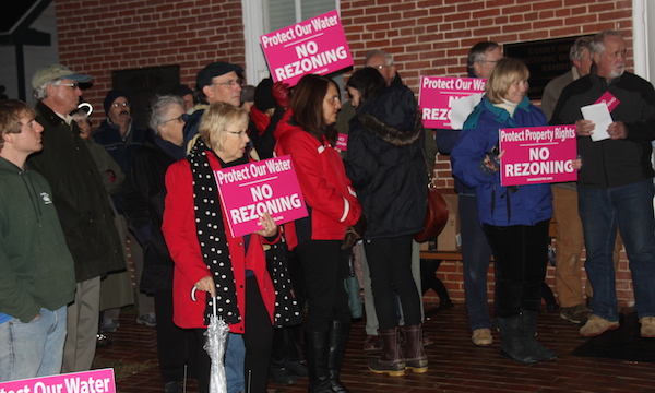 Some of the 150 zoning opponents who rallied at the old courthouse prior to a meeting of the Northampton County Board of Supervisors. (Wave photo)