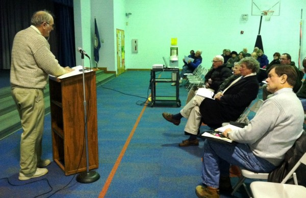 Northampton District 1 Supervisor Granville Hogg conducts Town Meeting January 8 at Kiptopeke School. (Photo: Donna Bozza)