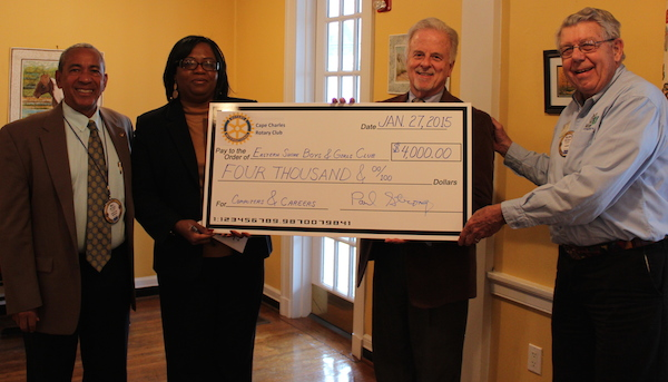 At the check presentation ceremony: Bill Payne, Eastern Shore Boys and Girls Club Chairman and Kathy Custis, Executive Director, with John Burdiss, Cape Charles Rotary past president, and Allan Burns, current president.