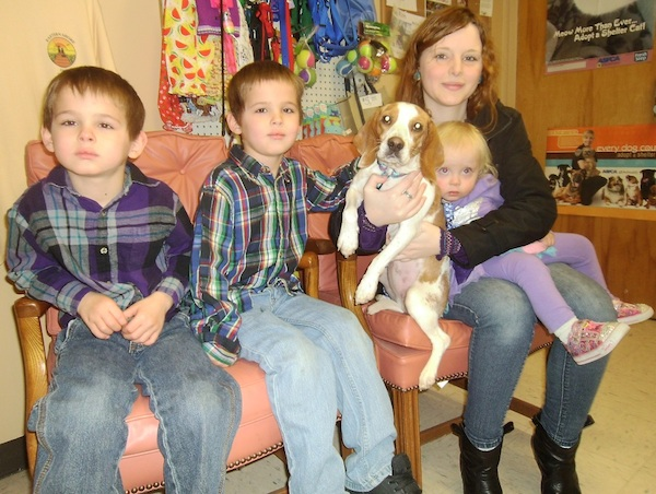 A Cape Charles family poses with their SPCA bundle of Joy: Brendan, Reegan, Penny the beagle, Erilyn, and mom Kathryn.