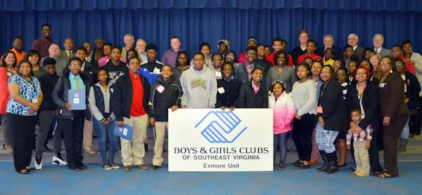 Cape Charles Rotary Club members join with Boys and Girls Club participants.