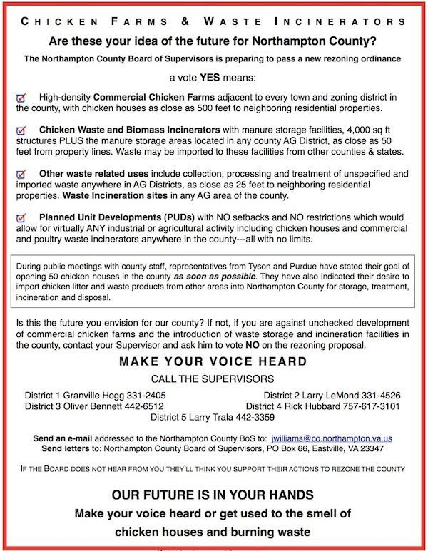 This flier being circulated by Northampton County rezoning opponents stresses that anyone who does not register his or her opposition to county rezoning plans will be judged to be in favor of the rezoning.